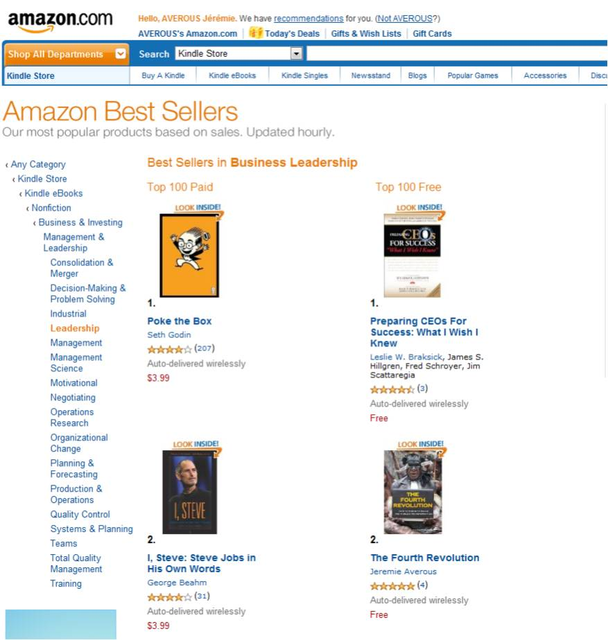 The Fourth Revolution book #2 in Leadership bestsellers on Amazon.com!